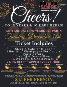 13th Annual New Years Eve Party! @ The Score Restaurant | Grand Rapids | Michigan | United States